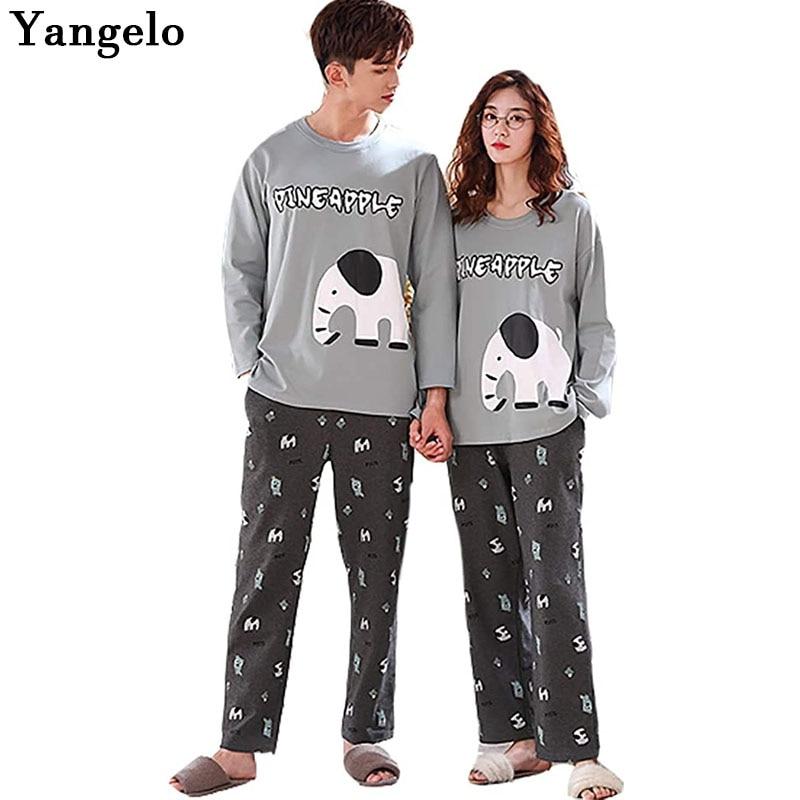 Yangelo TATA Pajamas Room Wear Women's Top Bottom 2 Piece Set Long Sleeve Cotton Cute Long Pants Travel Unisex Elephant Clothing