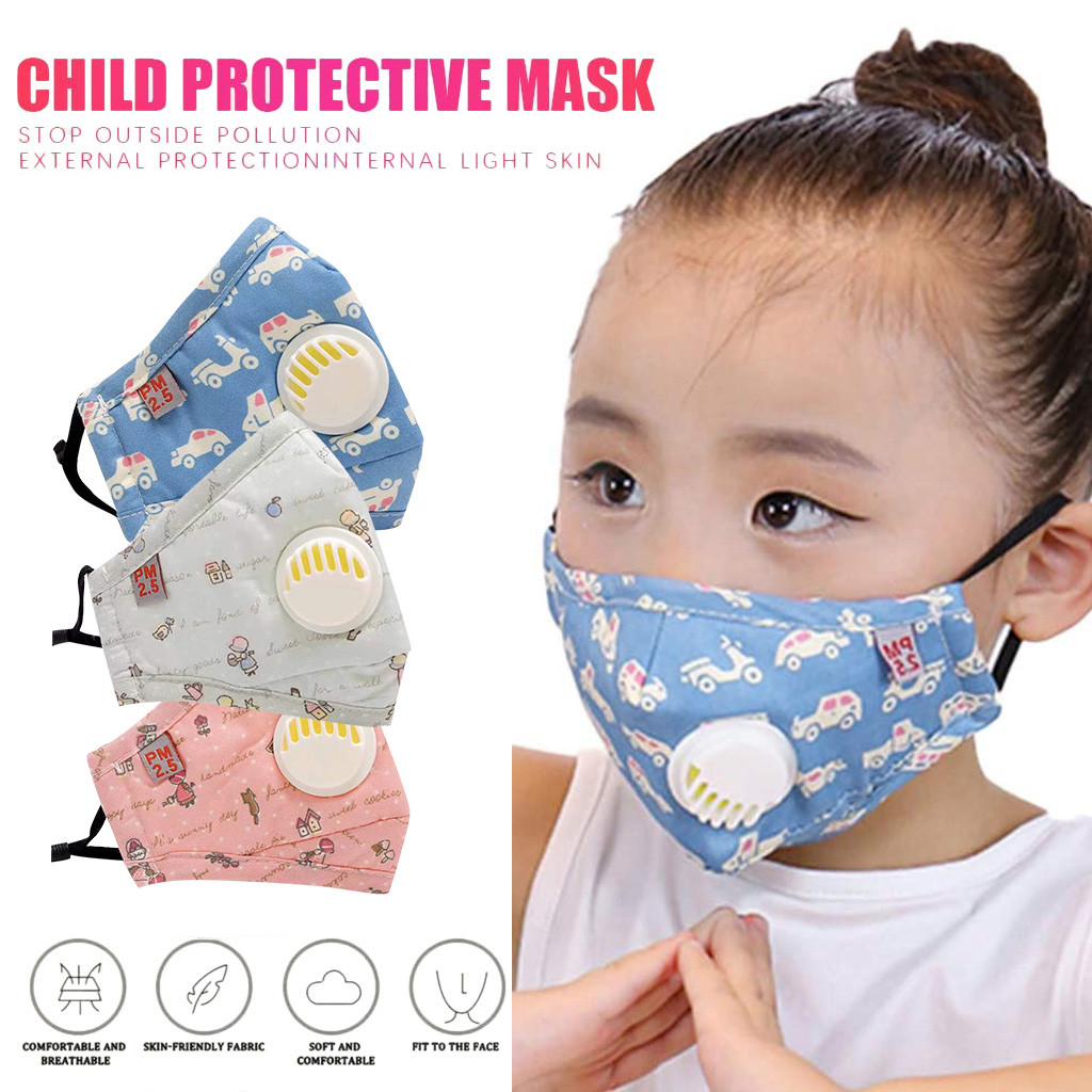 Kids Anti-Pollution PM2.5 Cotton Cartoon Mouth Mask Breathing Filter Respirator Reusable Kids Anti-dust Mouth Face Masks Cover