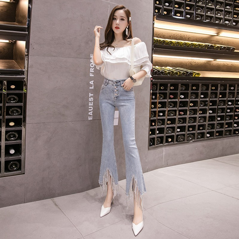 Fashion Women Buttons Bell-bottomed Pants Irregular Beading Tassel Jeans Washed Denim Flare Trousers Slim Fit Ankle Length Jeans