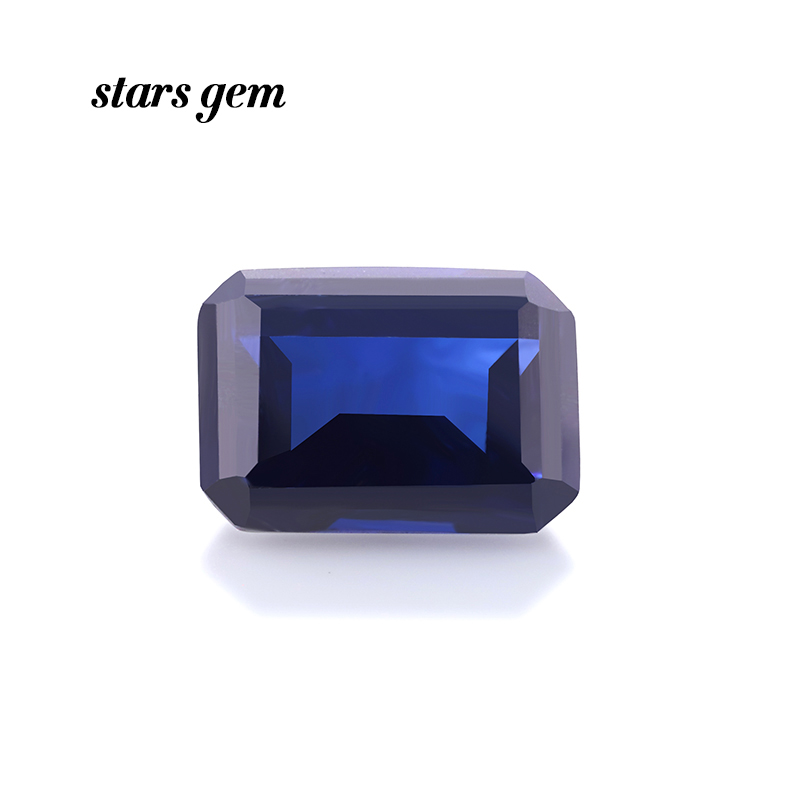 Octagon Shape Emerald Cut 12x10mm 8 Carats Blue Color Lab Grown Sapphire Gemstone for Jewelry Making