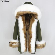 OFTBUY 2020 Winter Jacket Women Real Fur Coat Thick Warm Natural Fox Fur Collar Hood Liner Parka Outwear Casual Streetwear Korea