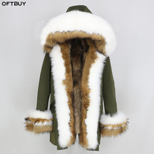 OFTBUY 2020 חורף מעיל נשים אמיתי פרווה מעיל עבה חם טבעי שועל פרווה צווארון הוד אוניית Parka להאריך ימים יותר מקרית Streetwear קוריאה