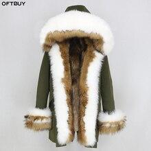 Oftbuy 2020 Winter Jas Vrouwen Echte Bontjas Dikke Warme Natuurlijke Fox Bontkraag Hood Liner Parka Uitloper Casual Streetwear korea