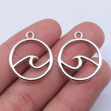 Wysiwyg 20 pçs 20x20mm antigo prata cor ondas encantos pingente para fazer jóias diy jóias descobertas