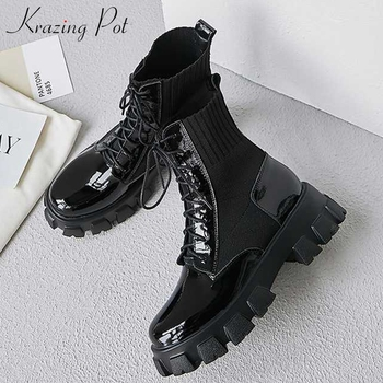 krazing pot new cow leather round toe lace up wedges high heels platform boots casual keep warm stretch knitting ankle boots L31 liren 2019 winter women fashion casual ankle cow suede lace up boots round toe flat heels pu lady casual comfortable boots