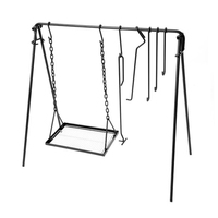 Outdoor Camping Hanging Rack Pot Stand Adjustable BBQ Grilling Tripod Campfire Pot Stand Grilling Plate for Camping Hiking