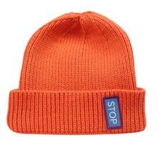 Womens senhoras simples curto gorro com nervuras chapéu com textos inverno quente malha toque para homem laranja preto azul lavanda