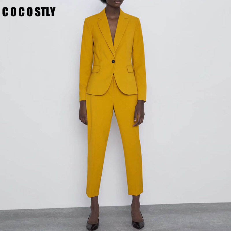 Autumn Women Pant Suits Yellow Single Button Blazer Jacket+Zipper Trousers Office Ladies Suits Two Piece Set Female Outwear