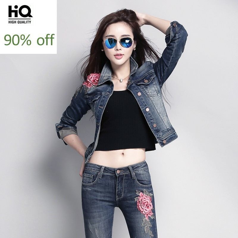 2020 Autumn Flower Pattern Denim Suit Women Embroidery Floral Single Breasted Jeans Jacket Pencil Pants Two Piece Outfit Set