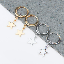 Endless Circle Geometry Star triangle Small Hoop Earrings With Pandent Silver Gold Color Simple Earring For Women Men Jewelry
