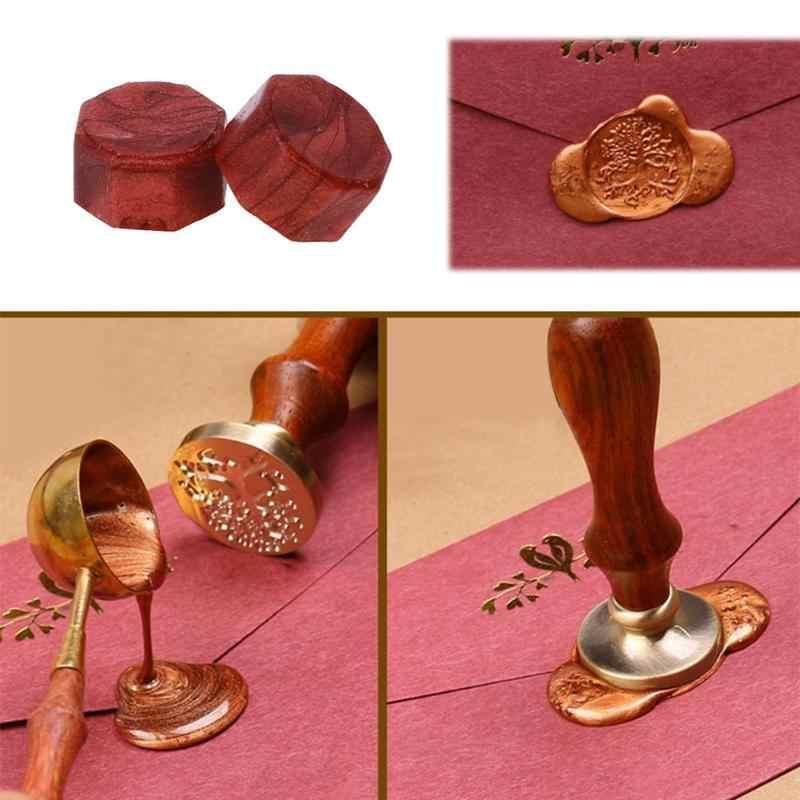 100 Pcs/lot Retro Octagon Penyegelan Lilin Manik-manik Lilin Cap Perangko untuk Amplop Dokumen Undangan Pernikahan Dekoratif Supply