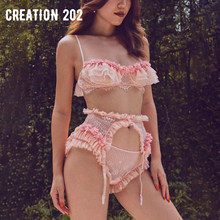 Creation 202 Women's Sexy Suit Sexy Open Crotch Pajamas French Lace Garter Three Piece Set