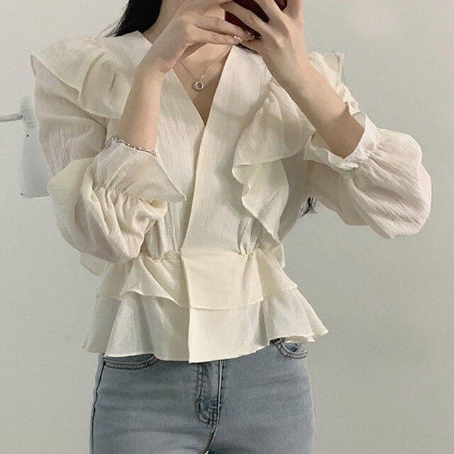 Ezgaga Women Blouse Korean Chic Sweet Solid V-Neck Ruffled Long Sleeve Slim Waist Tender Crop Tops Fashion Shirts Elegant 4