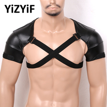 Support-Brace-Strap Harness Mens Wet-Look Faux-Leather Shoulder Wrap-Belt Injury-Protector