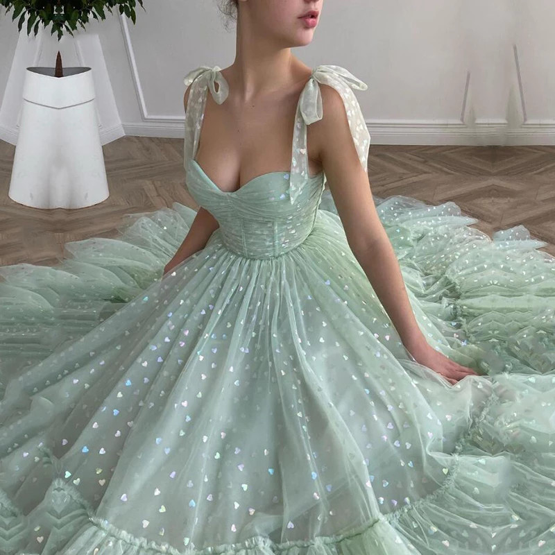 Shiny Fairy Prom Dresses Sweetheart Mint Green Robes de cocktail Tulle Tea Length Wedding Party Gown Short Graduation 2021