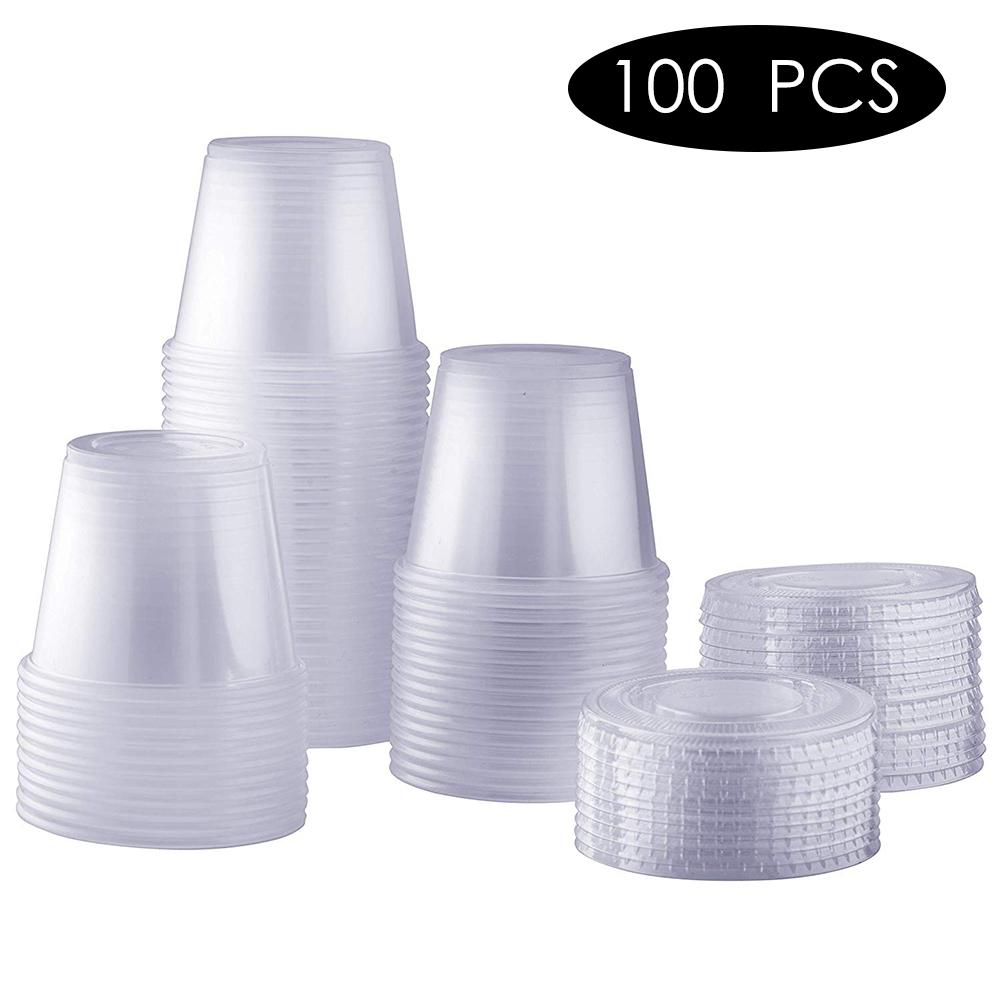 100pcs/lot Disposable Dispensing Plastic Cup With Lid Party Supplies Sauce Jelly Souffle Disposable Cups 1/2/4/5.5 OZ