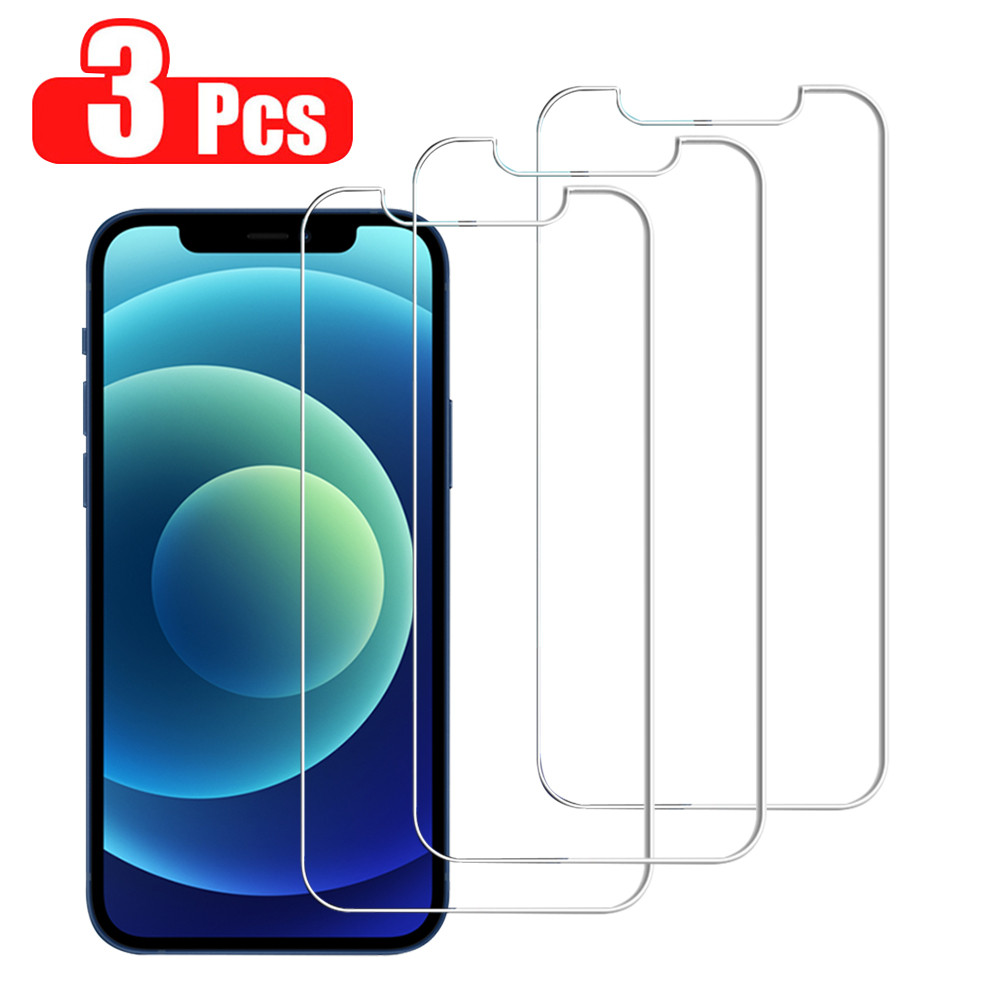 3Pcs Tempered Glass For iPhone 12 11 Pro XS Max XR 7 8 6s Plus Screen Protector For iPhone 12 Mini 11 Pro Max Protective Glass