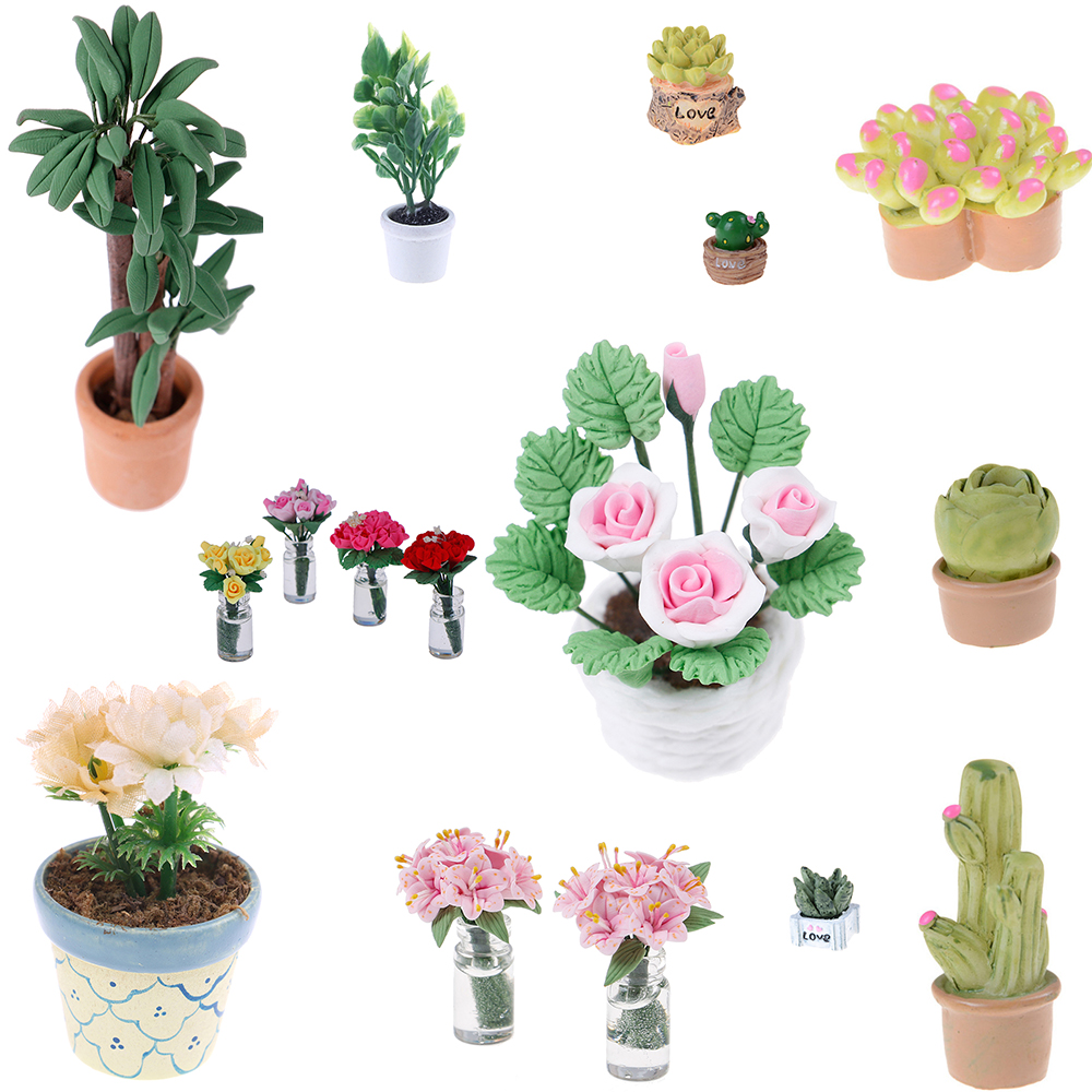 1//12 Dollhouse Miniatures Green Plant in Pot Potted Tree Mini Plants //Doll House