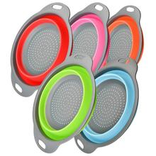 Silicone Collapsible Drain Basket Filter Creative Folding Vegetable Fruit Storage Basket Kitchen Multifunctional Storage Tool