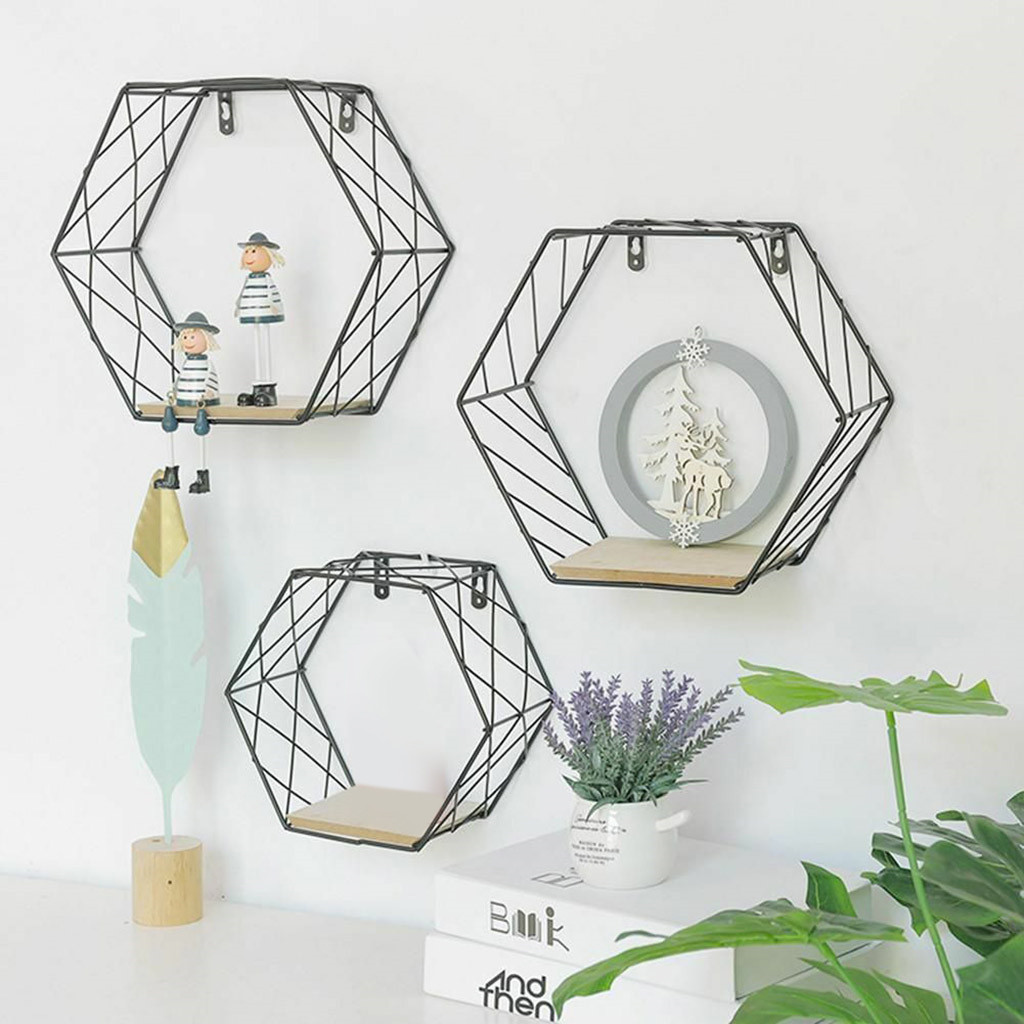 Black Wall Shelf Storage Hanging Decor Hexagonal Geometric Storage Frame Iron Grids Kid Room DIY Wall Decoration Holder #N
