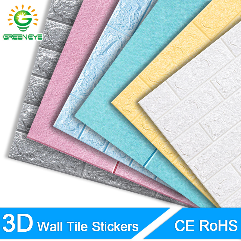 3D Wall Paper Brick Stone Pattern Self-Adhesive Waterproof 3D Wall Stickers Kitchen Bathroom Home Floral prints Wall Sticker