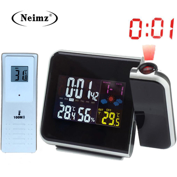 Digital Projection Alarm Clock Weather Station with Temperature Thermometer Humidity Hygrometer/Bedside Wake Up Projector Clock multi function alarm clock thermometer hygrometer 1 x aa