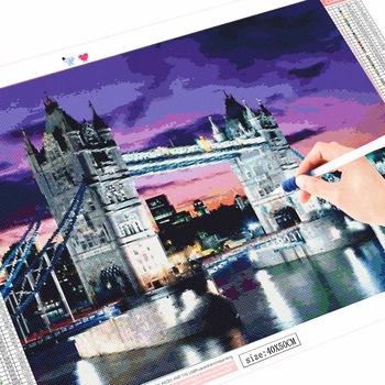 HUACAN 5D DIY Diamond Painting London Bridge Full Drill Square Diamond Embroidery Art Kits Landscape