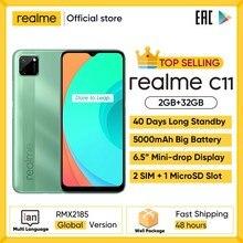Realme c11 telefones celulares 6.5 polegada 5000mah bateria grande 40 dias de espera longa 3-slot para cartão android smartphone 13mp telefone da câmera
