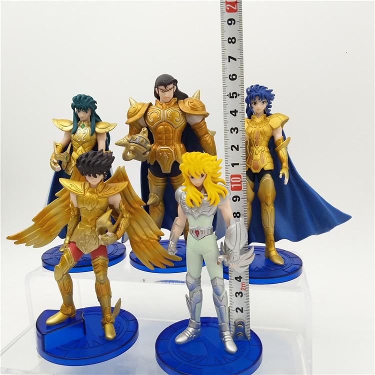 5pcs/lot Seiya Warior Action Figure Toys Shiryu Shun Hyoga Jabu Seiya Golden Knights Of The Zodiac Model Dolls Model Toy For Kid