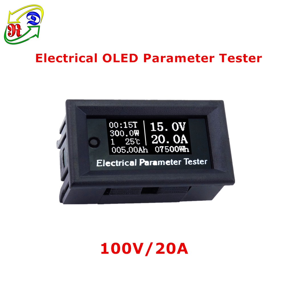 RD 100v/20A 7in1 OLED Многофункциональный тестер Напряжение текущее время температура ёмкость Вольтметр Амперметр электрический счетчик белый