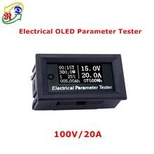 Medidor de voltaje multifunción RD 100v/20A 7 en 1 OLED, voltímetro de capacidad de temperatura, amperímetro, medidor eléctrico blanco