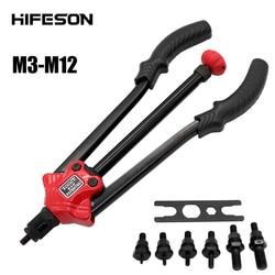 Hifeson rebite porca ferramenta de inserção manual rebitador rosqueado porca rebitagem rivnut ferramenta para porcas m3 m4 m5 m6 m8 m10 m12