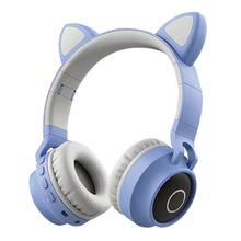 Foldable Cat Ear Headset LED Lights Wireless BT Music Headphones for Kids Girls 24BB(China)
