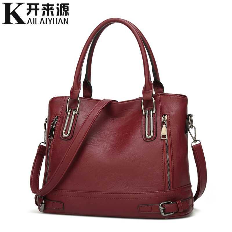100% جلد طبيعي النساء حقائب 2019 جديد الأوروبية والأمريكية الأزياء حقيبة يد تدفق واحد الكتف متدلي حمل حقيبة كبيرة