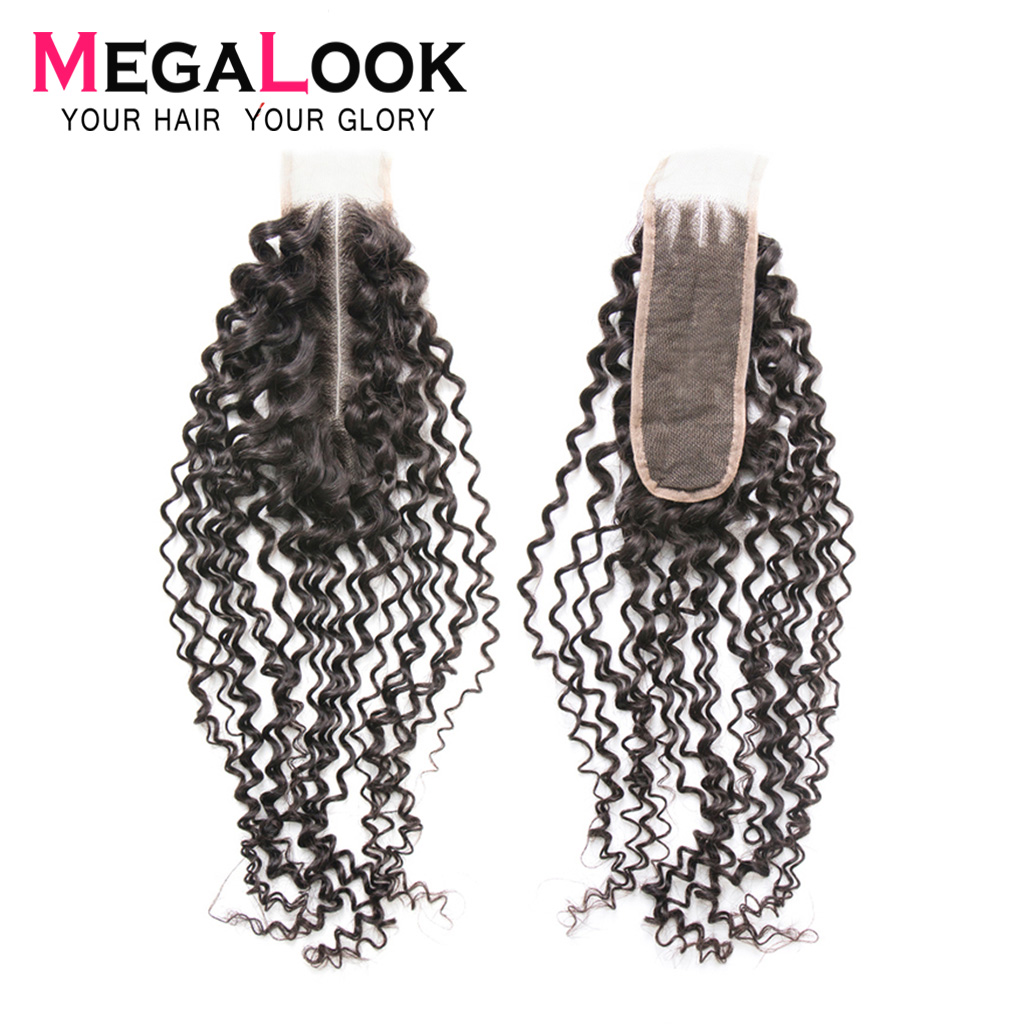 Kinky Curly Closure Human Hair Peruvian 2x6 Closure 2x6 Lace Closure 2*6 Remy Megalook Hair Middle Part Natural Color Swiss Lace