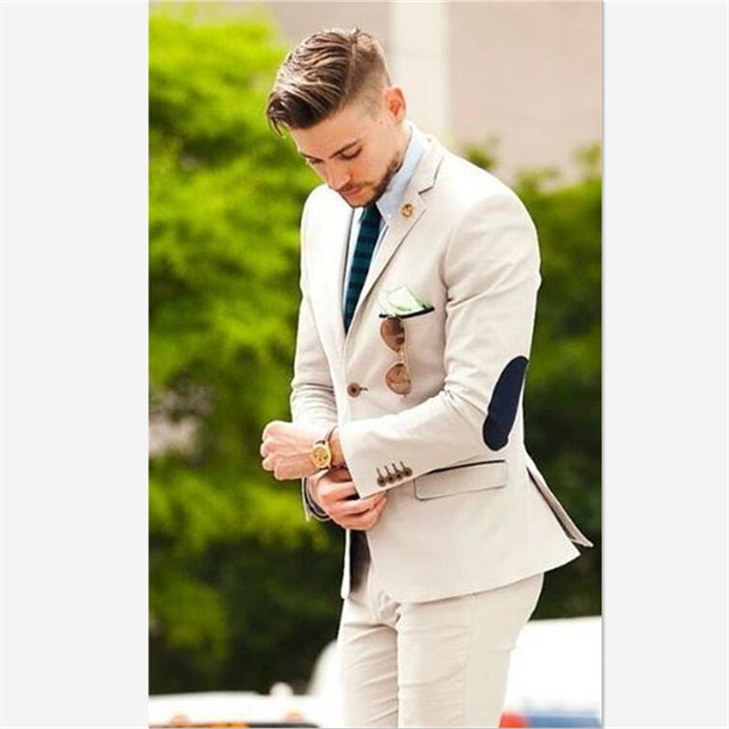 Mens Suits (Jacket+Pants) Latest Designs Beige Groom Tuxedos Elbow Patches 2 Pieces Wedding Prom Dinner Italian Man Suit Blazer