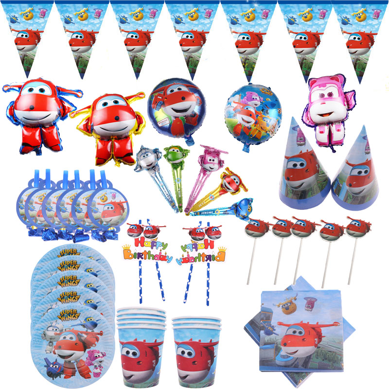 Super Wings Theme Birthday Party Favor For Kids Wedding Decorations Plates Cups Napkins Baby Shower Party Supplies Boys