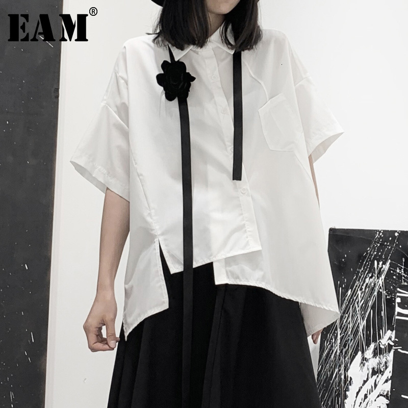 [EAM] Women Black Asymmetrical Big Size Blouse New Lapel Half Sleeve Loose Fit Shirt Fashion Tide Spring Autumn 2020 19A-a616