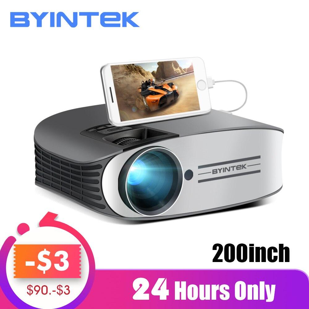Venda de afastamento 149 $ BYINTEK Marca LUA M7 200 polegada Vídeo HD LED Projetor de Home Theater para O Iphone Smartphones Full HD 1080P
