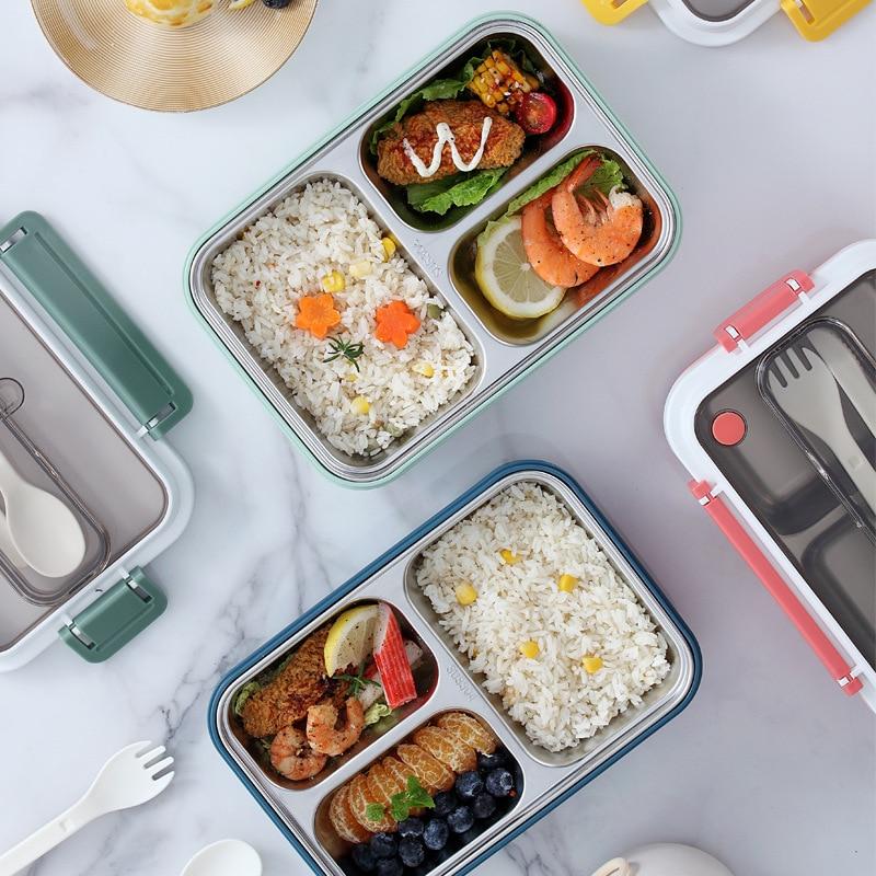 Нержавеющаясталь Утепленная одежда здоровый Материал Коробки для обедов столовая посуда Еда контейнер для хранения коробка для завтрака ...
