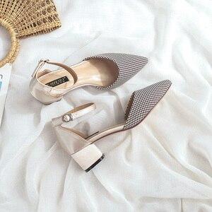 Image 5 - 2020 Houndstooth buty kobieta Plus rozmiar tkaniny bawełnianej kwadratowych szpilki wesele eleganckie szpiczasty nosek kostki pasek kobiety obcasy