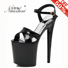 цена на Fashion Women's Dancer shoes Hollow Out 8 inch High Heel Shoes Fetish Sliver Female Office Lady Dress Crystal Sandals Black