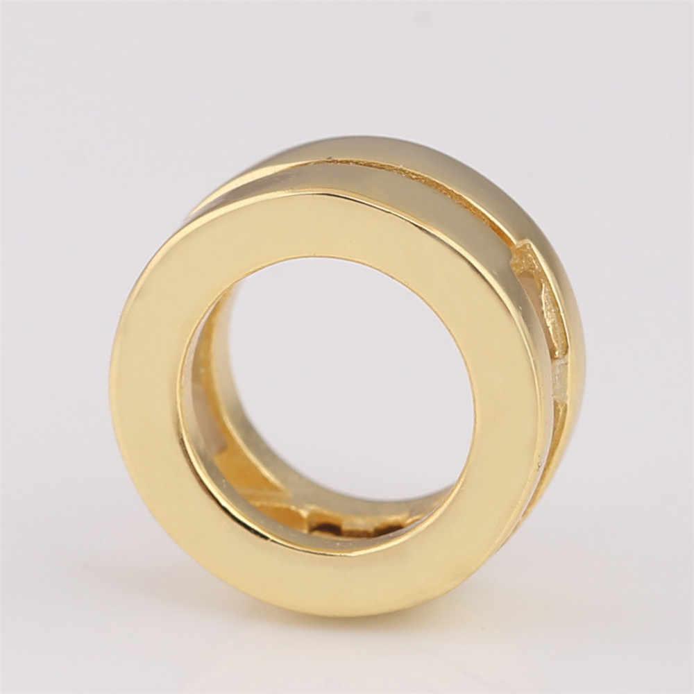 ของแท้ 925 สเตอร์ลิงเงิน Charm GOLD สี Shine Smooth Reflexions โลโก้คลิปลูกปัด Pandora สร้อยข้อมือ DIY เครื่องประดับ