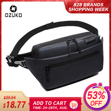 OZUKO Waterproof Men Waist Bag Fanny Pack Shoulder Belt Bag Male Phone Pouch Bags Travel Waist Pack Small Running Sport Bolso