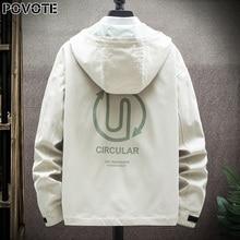 POVOTE brand men's color blocking Hooded Jacket Coat hip hop jacket Korean Trend tooling jacket men's trend design