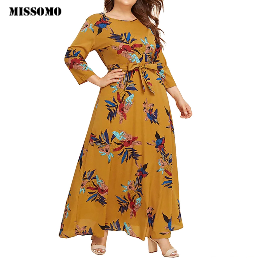 MISSOMO Maxi Dress Women Casual Floral Print O-Neck Long Sleeve Bandage Long Dress Plus Size 5XL Women Dress Vestidos Vintage 8