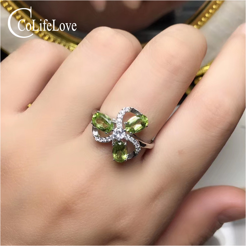 CoLife Jewlery 925 Silver Gemstone Ring 100% Natural Peridot Ring Sterling Silver Peridot Jewelry for Woman Birthday Gift