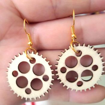 New Original Wood Earrings Women African Map Drop Round Hollow Fashion Jewelry Eardrop Personality Hoop