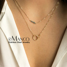 eManco Double Layered Chokers Necklaces for Women Crystal Circle Pendant Necklace Stainless Steel Fashion Jewelry Drop Shipping(China)