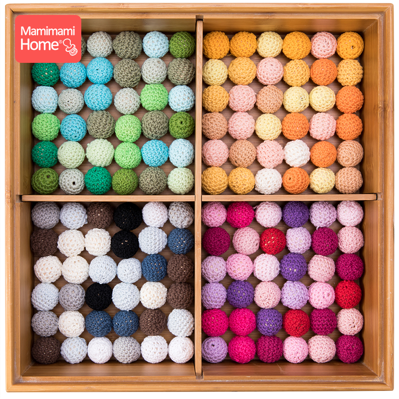 Mamihome 20pcs 20mm Wooden Crochet Beads Baby Teether Knitting Beads Blank DIY Nursing Necklace Gifts Children'S Goods Bpa Free